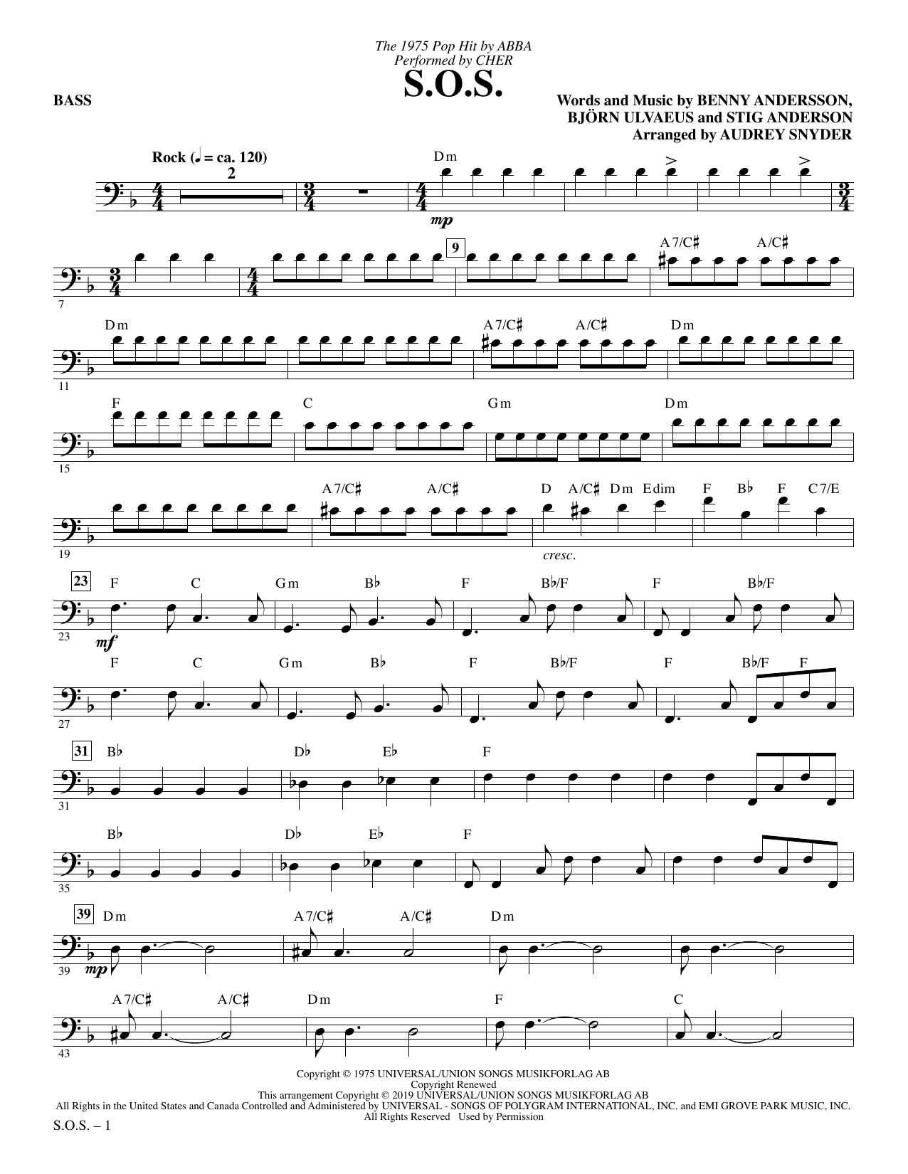 Cher S.O.S. (arr. Audrey Snyder) - Bass sheet music notes and chords. Download Printable PDF.