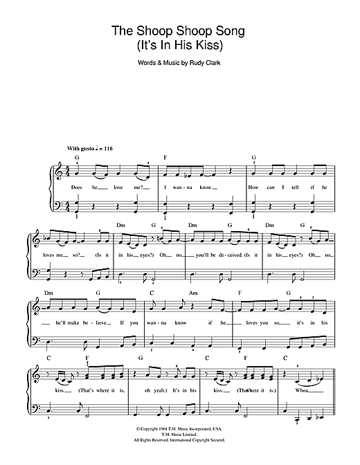 Cher The Shoop Shoop Song (It's In His Kiss) sheet music notes and chords. Download Printable PDF.