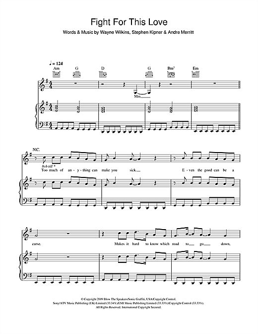 Cheryl Fight For This Love sheet music notes and chords. Download Printable PDF.