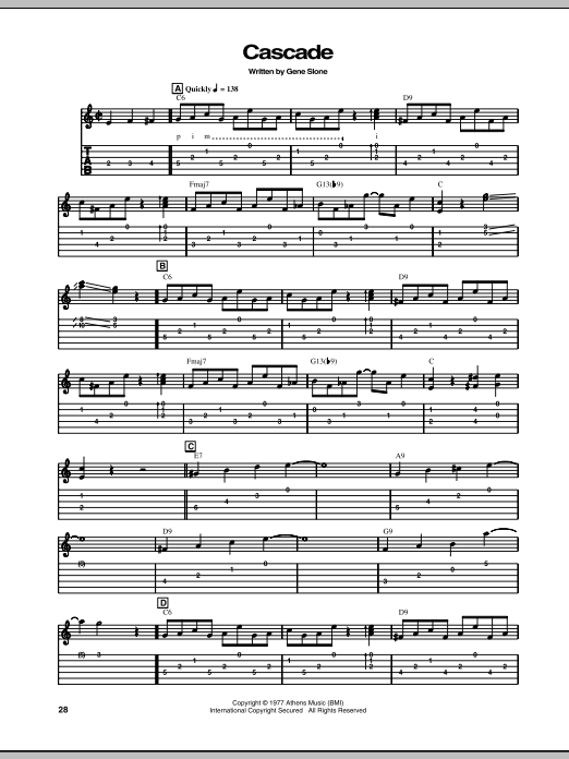 Chet Atkins Cascade sheet music notes and chords. Download Printable PDF.