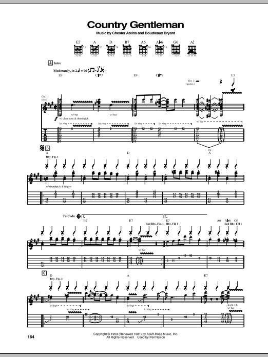 Chet Atkins Country Gentleman sheet music notes and chords. Download Printable PDF.