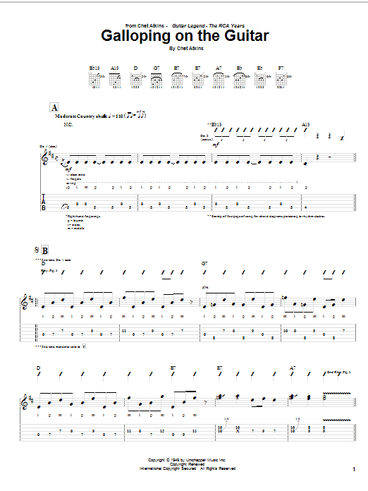 Chet Atkins Galloping On The Guitar sheet music notes and chords