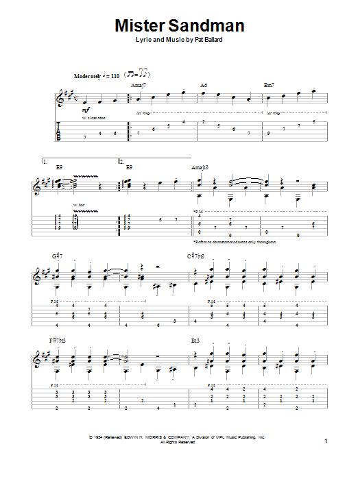 Chet Atkins Mister Sandman sheet music notes and chords. Download Printable PDF.