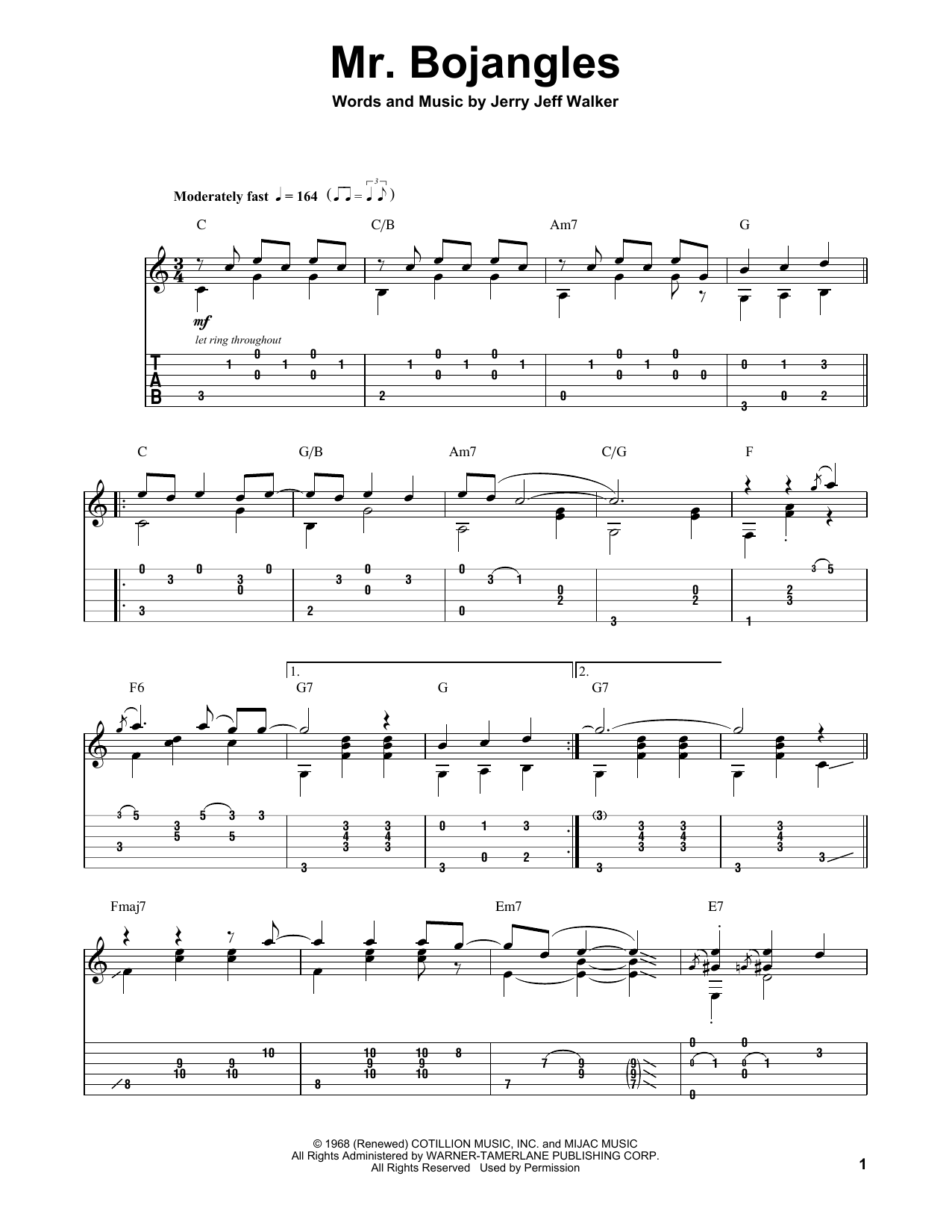 Chet Atkins Mr. Bojangles sheet music notes and chords. Download Printable PDF.
