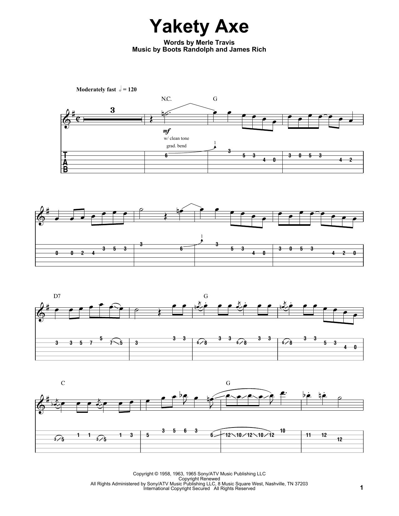 Chet Atkins Yakety Axe sheet music notes and chords. Download Printable PDF.