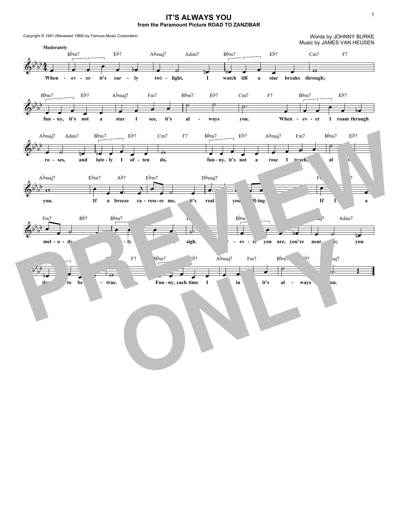 Chet Baker It's Always You sheet music notes and chords