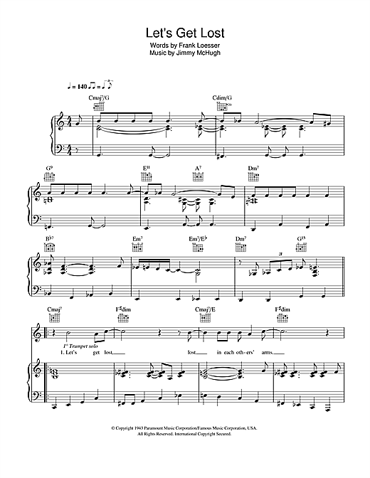 Chet Baker Let's Get Lost sheet music notes and chords