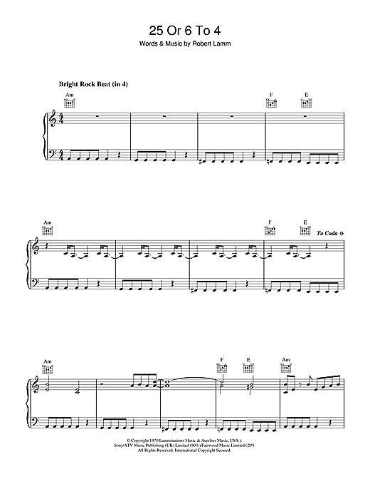Chicago 25 Or 6 To 4 sheet music notes and chords