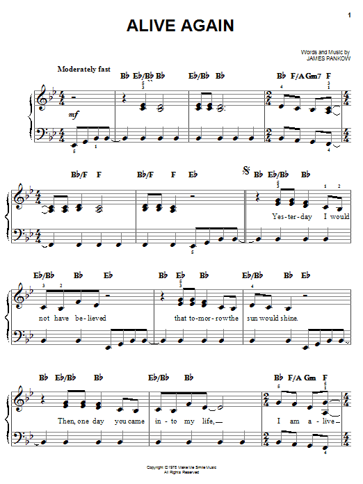 Chicago Alive Again sheet music notes and chords. Download Printable PDF.
