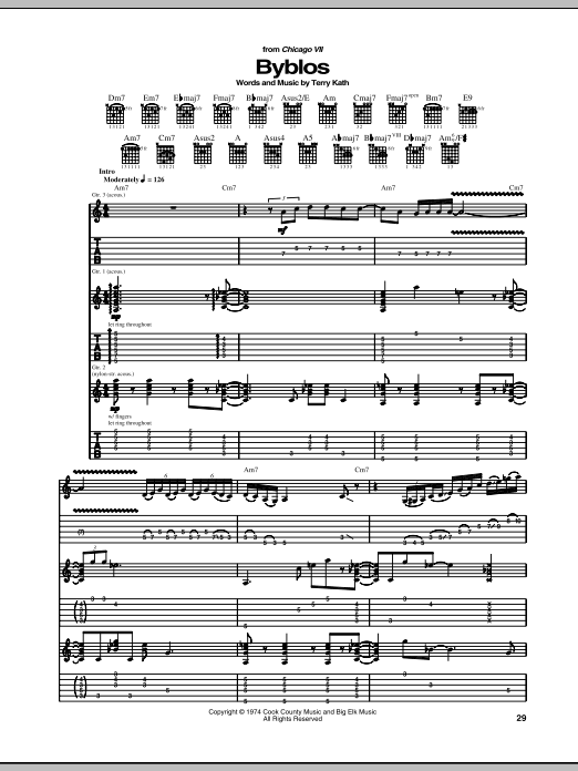 Chicago Byblos sheet music notes and chords. Download Printable PDF.
