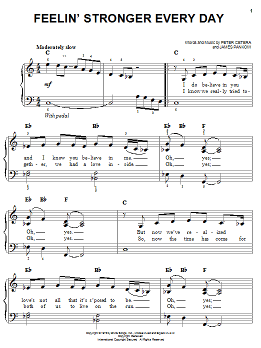 Chicago Feelin' Stronger Every Day sheet music notes and chords. Download Printable PDF.
