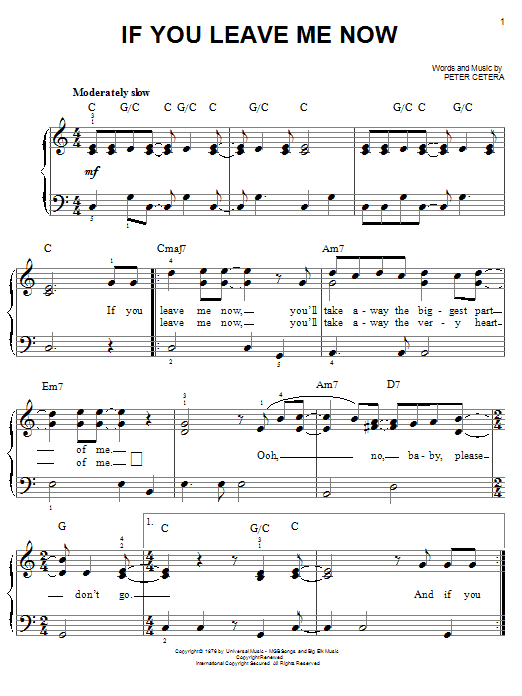 Chicago If You Leave Me Now sheet music notes and chords