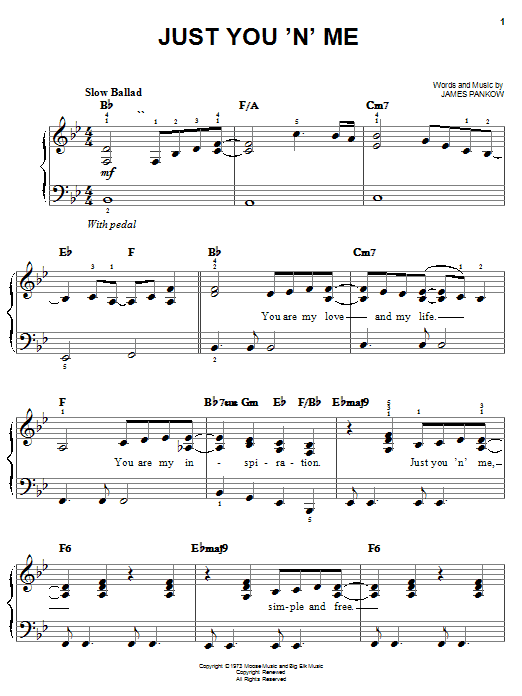 Chicago Just You 'N' Me sheet music notes and chords