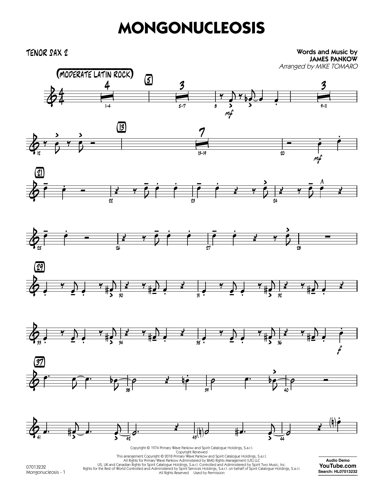 Chicago Mongonucleosis (arr. Mike Tomaro) - Tenor Sax 2 sheet music notes and chords