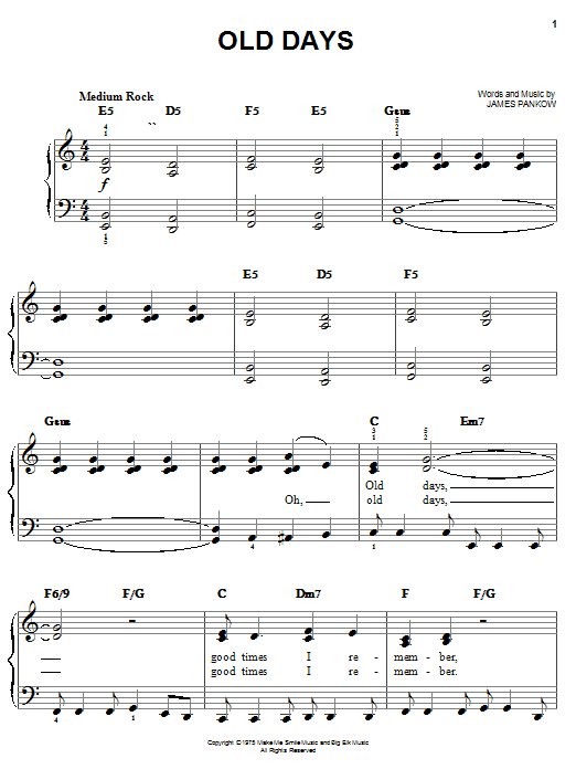 Chicago Old Days sheet music notes and chords. Download Printable PDF.