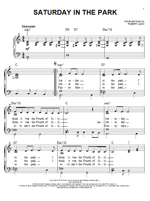 Chicago Saturday In The Park sheet music notes and chords