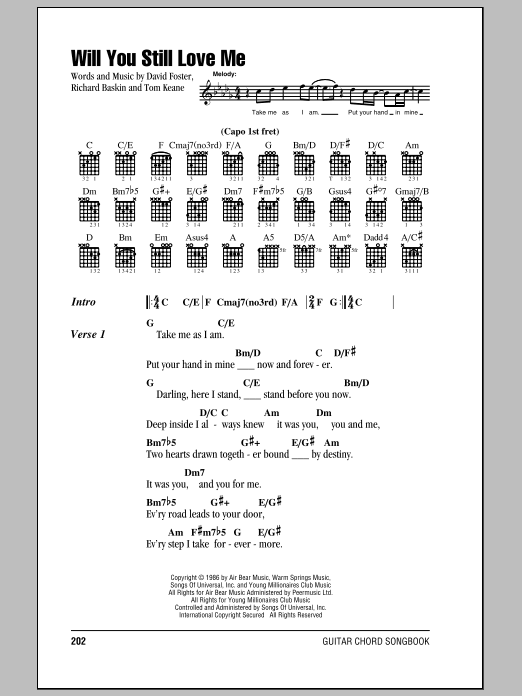 Chicago Will You Still Love Me sheet music notes and chords. Download Printable PDF.