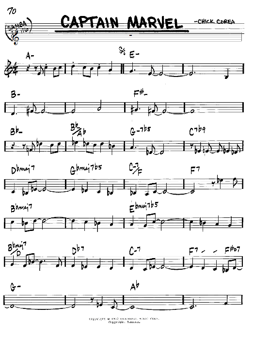 Chick Corea Captain Marvel sheet music notes and chords. Download Printable PDF.