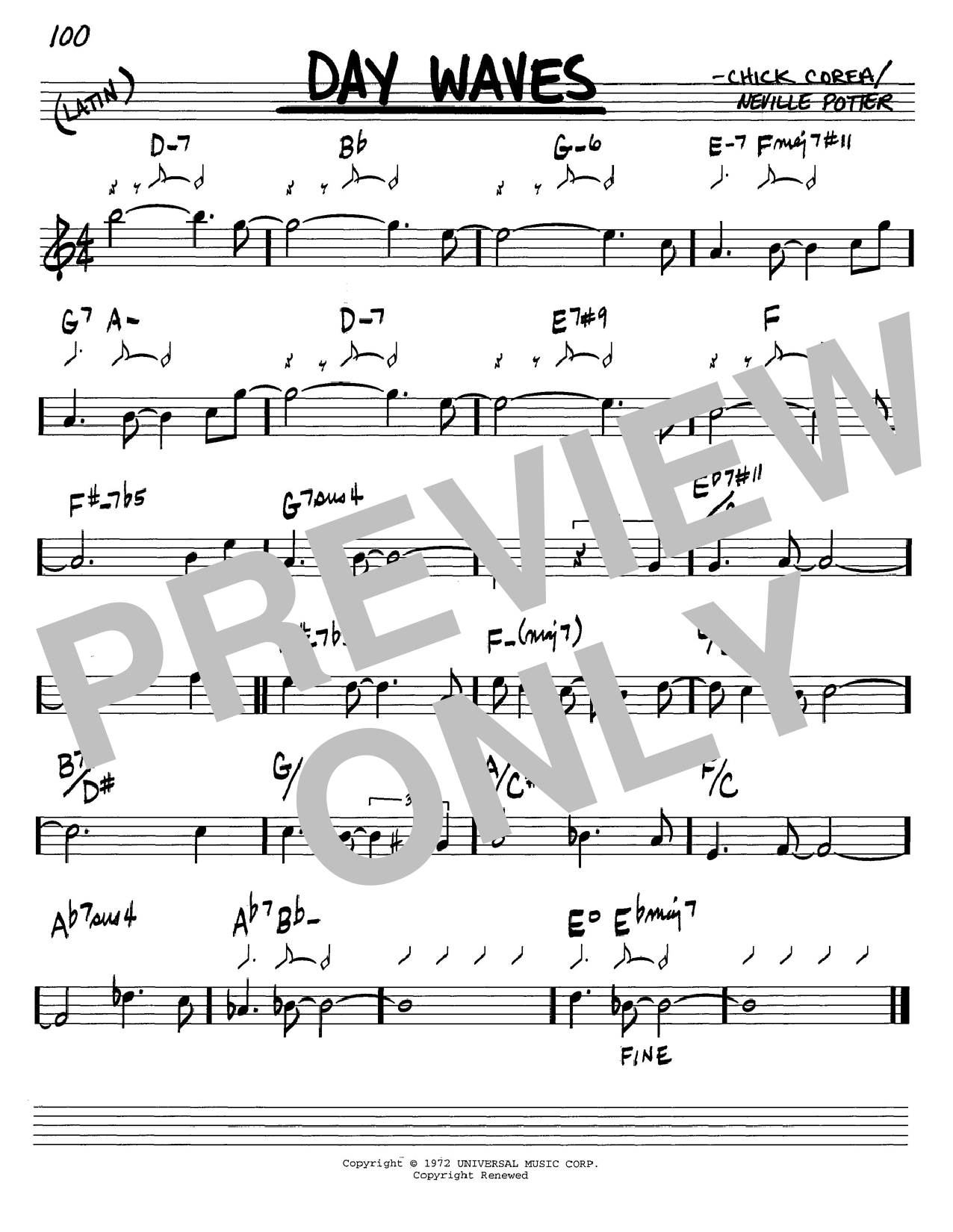 Chick Corea Day Waves sheet music notes and chords. Download Printable PDF.