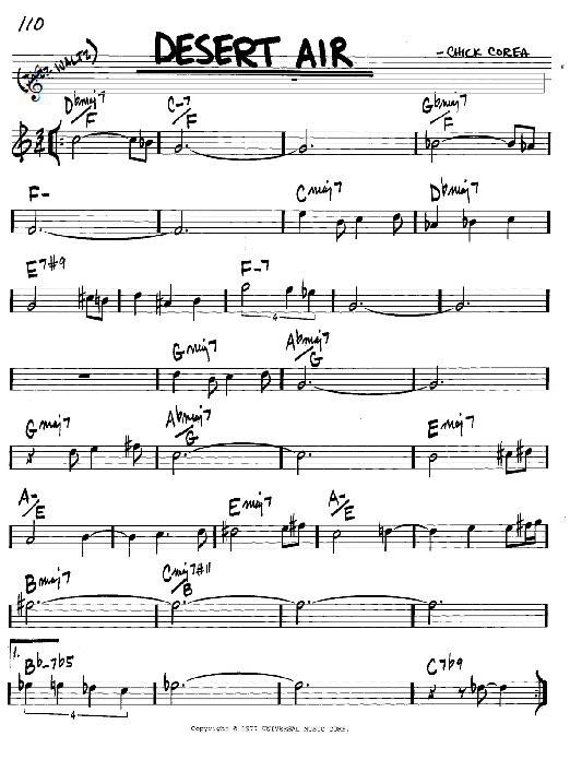 Chick Corea Desert Air sheet music notes and chords. Download Printable PDF.