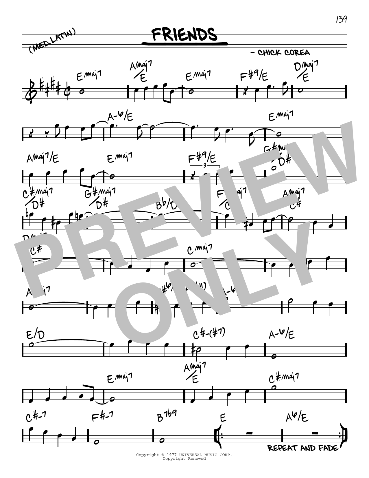 Chick Corea Friends sheet music notes and chords. Download Printable PDF.