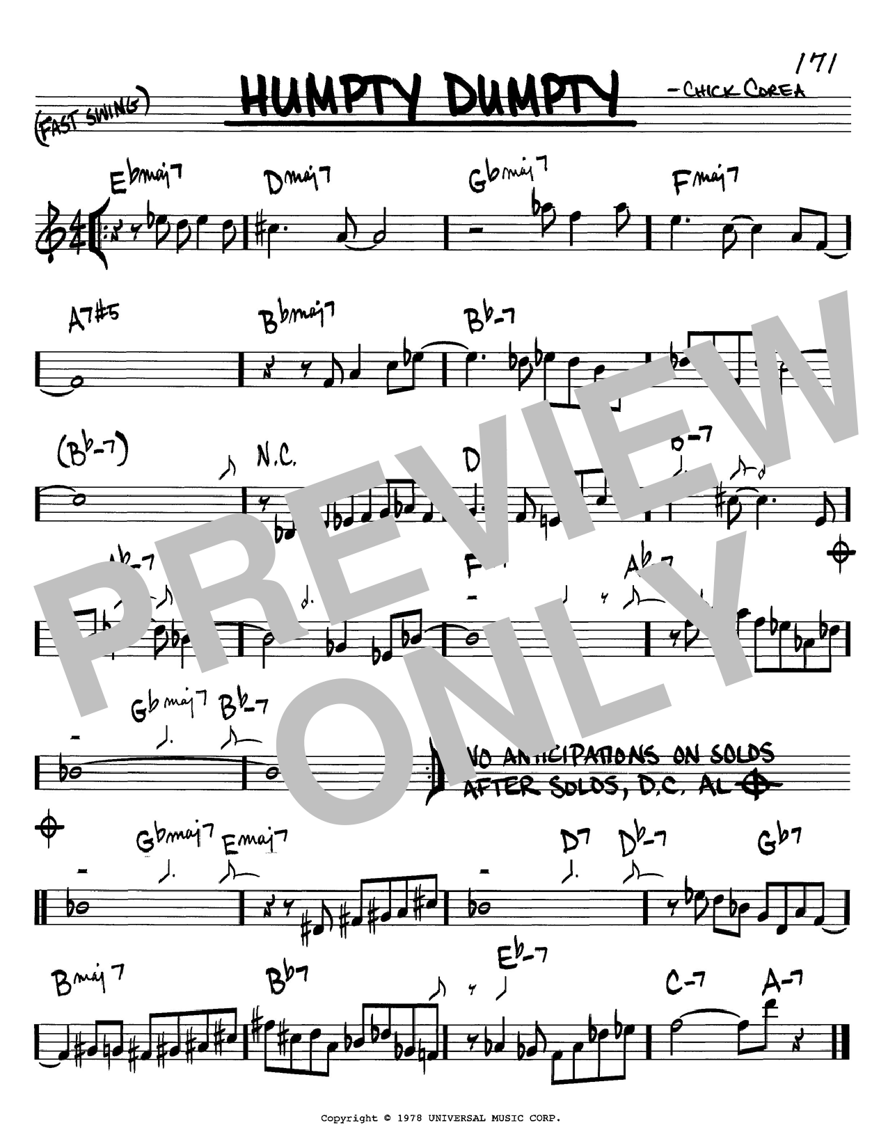 Chick Corea Humpty Dumpty sheet music notes and chords. Download Printable PDF.