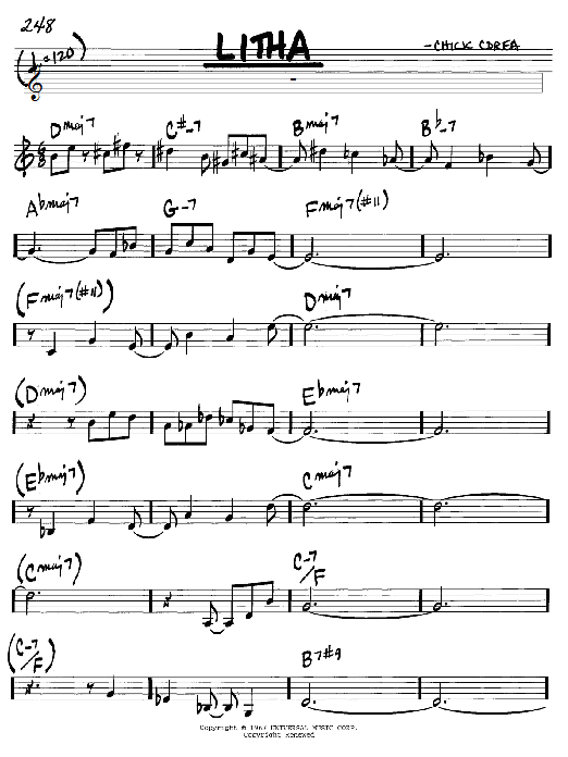 Chick Corea Litha sheet music notes and chords. Download Printable PDF.