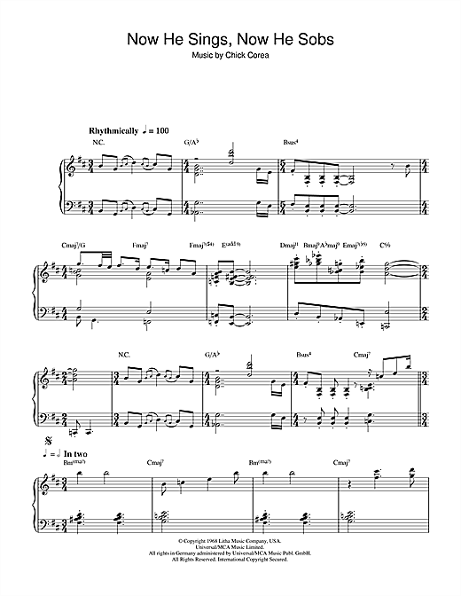 Chick Corea Now He Sings, Now He Sobs sheet music notes and chords. Download Printable PDF.