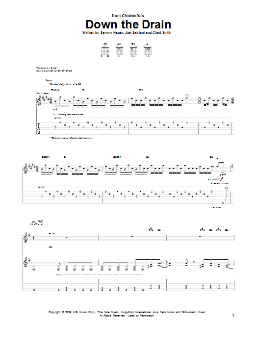 Chickenfoot Down The Drain sheet music notes and chords. Download Printable PDF.