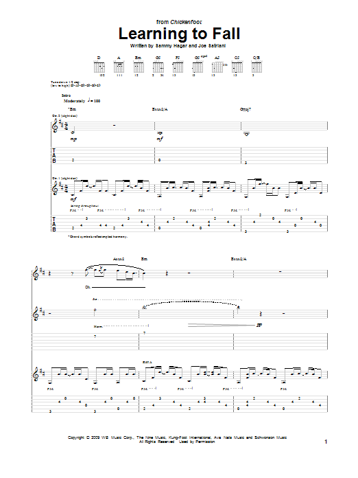 Chickenfoot Learning To Fall sheet music notes and chords. Download Printable PDF.