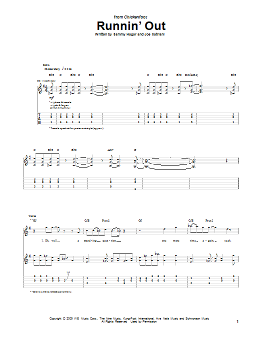 Chickenfoot Runnin' Out sheet music notes and chords. Download Printable PDF.