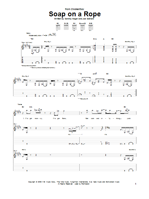 Chickenfoot Soap On A Rope sheet music notes and chords. Download Printable PDF.