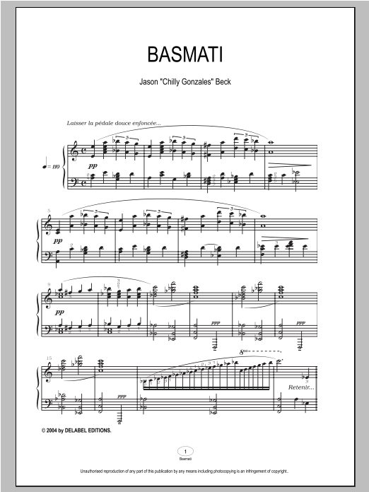 Chilly Gonzales Basmati sheet music notes and chords
