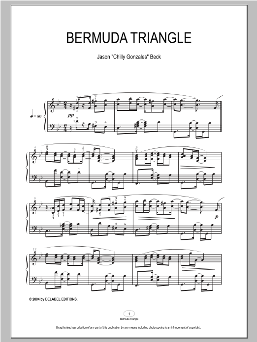 Chilly Gonzales Bermuda Triangle sheet music notes and chords