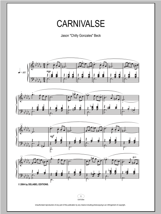 Chilly Gonzales Carnivalse sheet music notes and chords