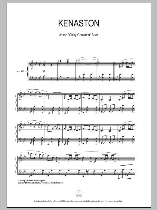 Chilly Gonzales Kenaston sheet music notes and chords