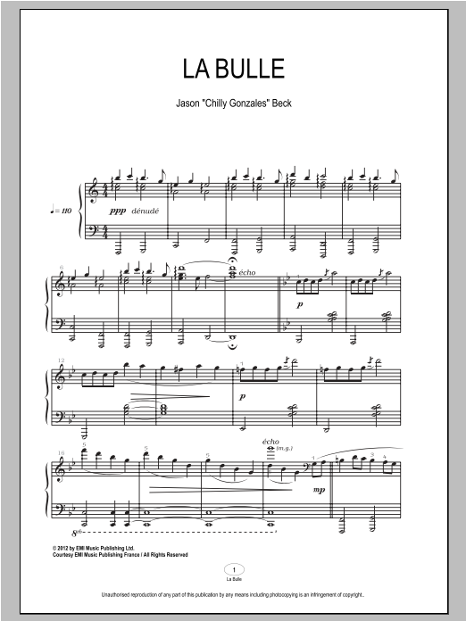 Chilly Gonzales La Bulle sheet music notes and chords. Download Printable PDF.