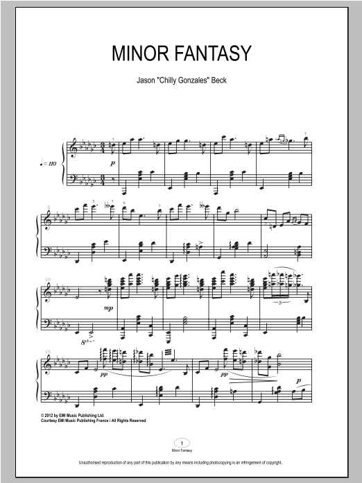 Chilly Gonzales Minor Fantasy sheet music notes and chords. Download Printable PDF.