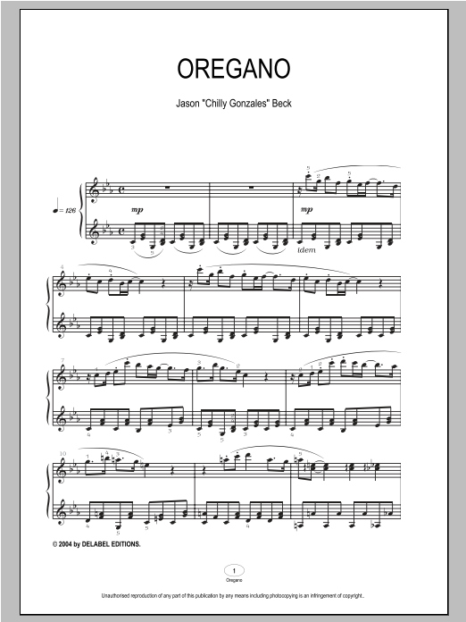 Chilly Gonzales Oregano sheet music notes and chords
