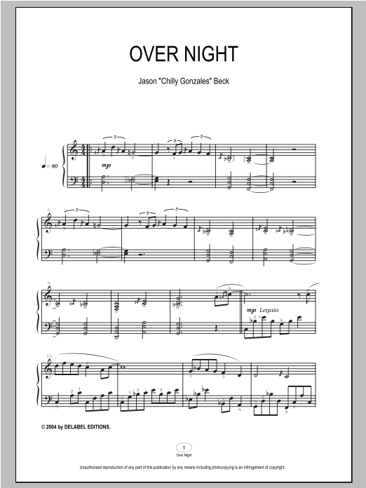 Chilly Gonzales Over Night sheet music notes and chords. Download Printable PDF.
