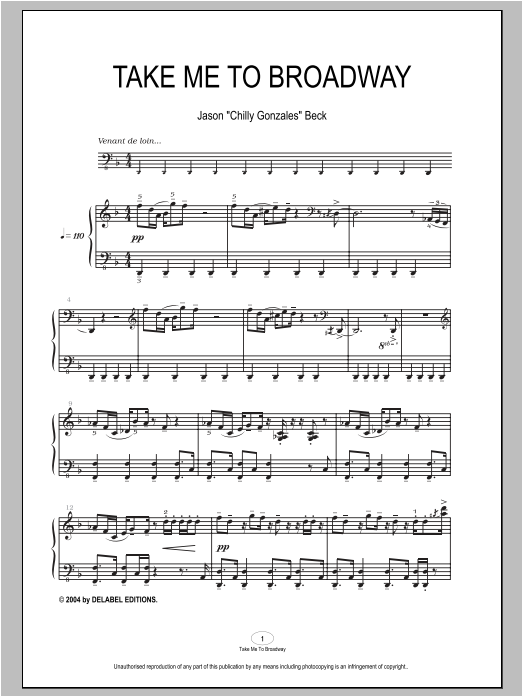 Chilly Gonzales Take Me To Broadway sheet music notes and chords. Download Printable PDF.