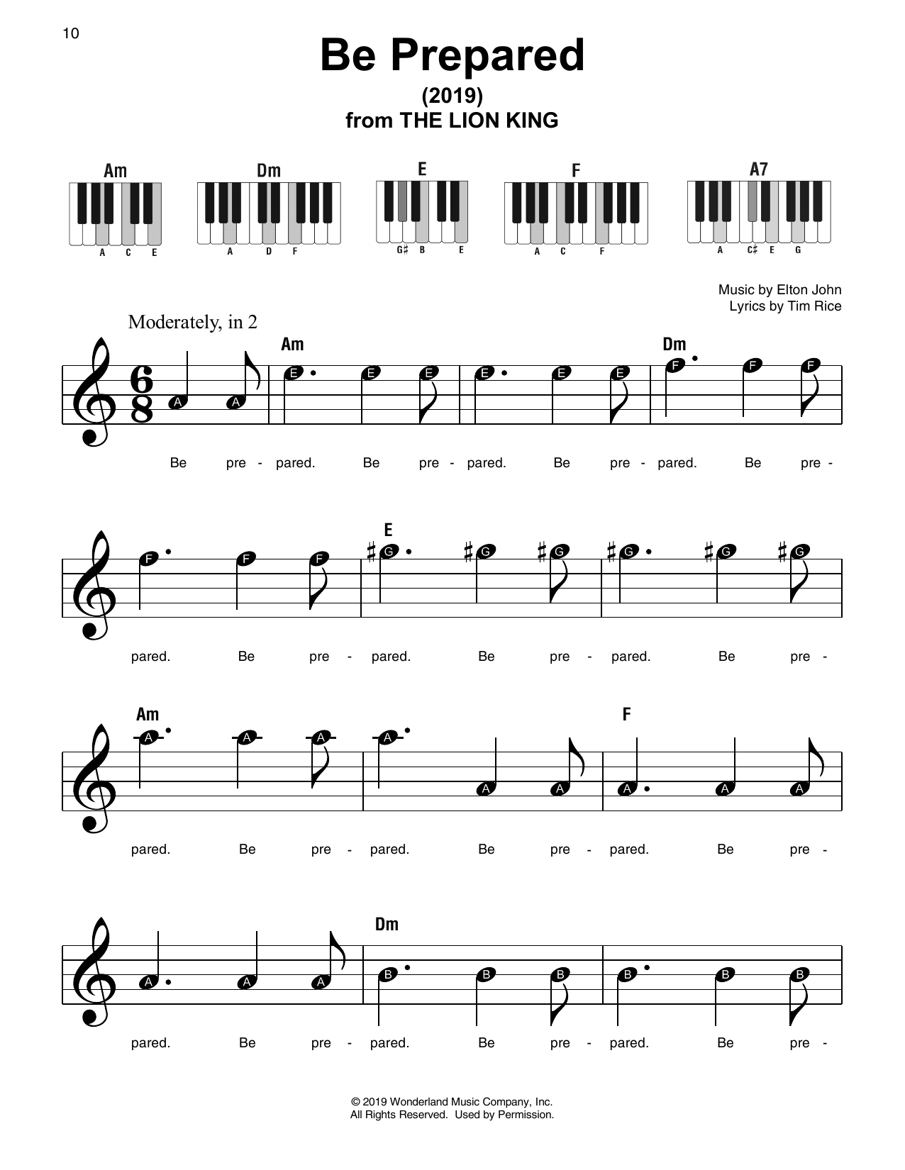 Chiwetel Ejiofor Be Prepared From The Lion King 2019 Sheet Music Pdf Notes Chords Disney Score Ukulele Download Printable Sku 429363