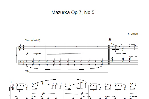Frederic Chopin Mazurka in C Major, Op. 7, No. 5 sheet music notes and chords. Download Printable PDF.