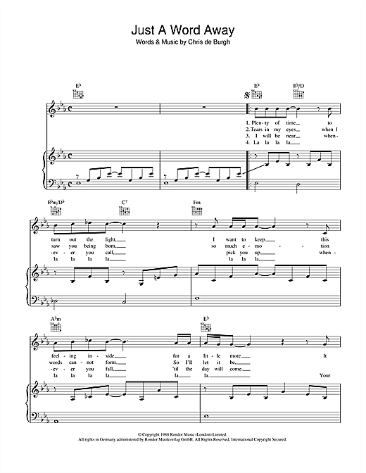 Chris de Burgh Just A Word Away sheet music notes and chords