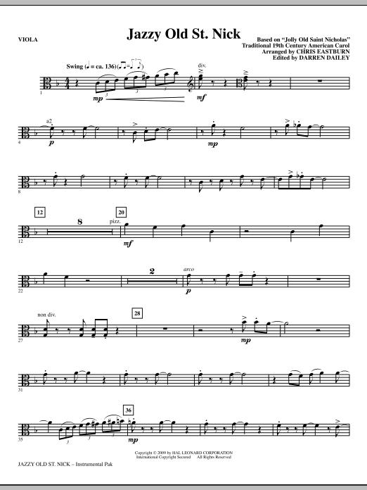 Chris Eastburn Jazzy Old St. Nick - Viola sheet music notes and chords. Download Printable PDF.