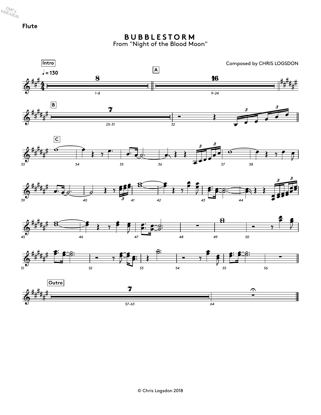 Chris Logsdon Bubblestorm (from Night of the Blood Moon) - Flute sheet music notes and chords. Download Printable PDF.