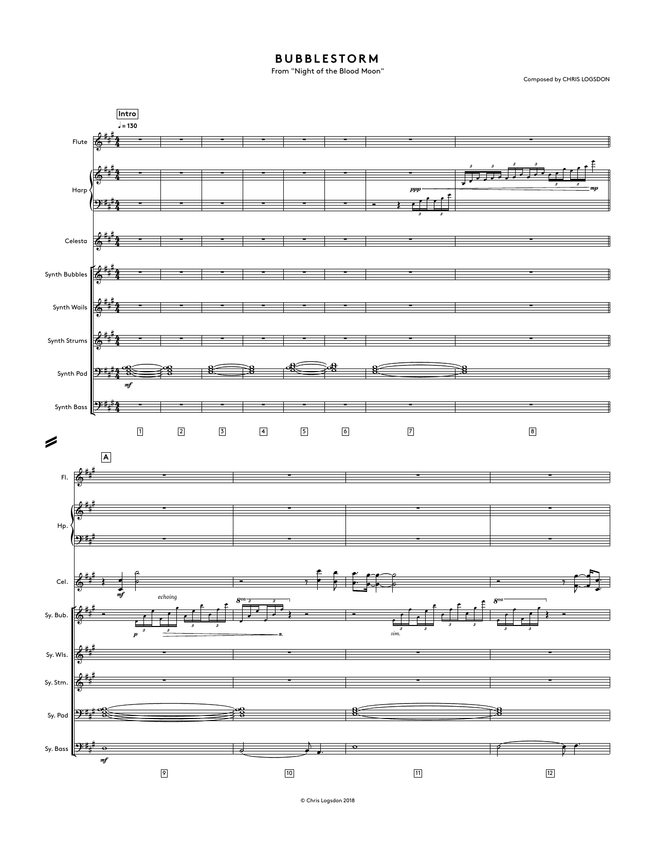 Chris Logsdon Bubblestorm (from Night of the Blood Moon) - Full Score sheet music notes and chords. Download Printable PDF.