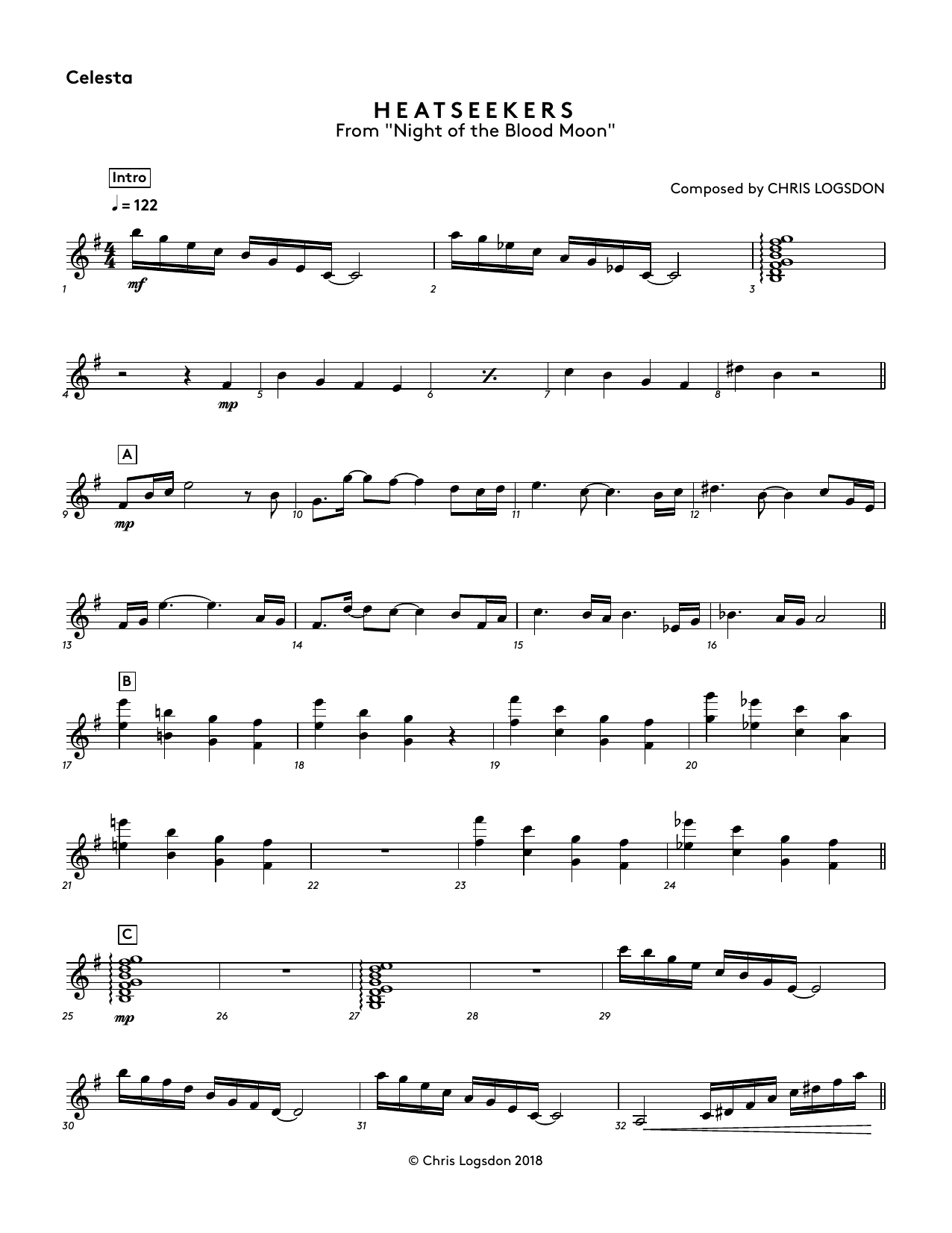 Chris Logsdon Heatseekers (from Night of the Blood Moon) - Celesta sheet music notes and chords. Download Printable PDF.