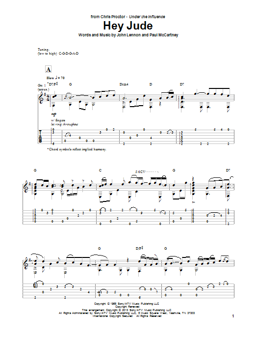 Chris Proctor Hey Jude sheet music notes and chords. Download Printable PDF.