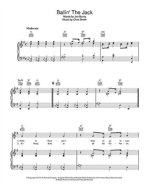 Chris Smith Ballin' The Jack sheet music notes and chords. Download Printable PDF.